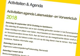 Club agenda 2018