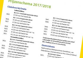 Prijzenschema 2018
